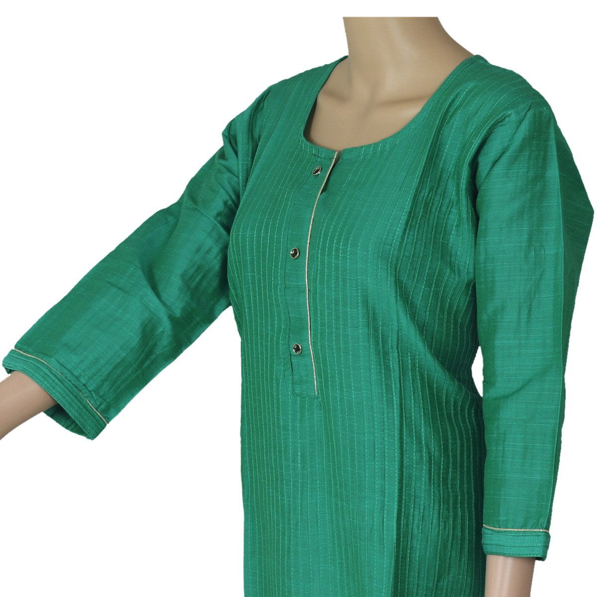 Raw Silk Kurta Light Green with Buttons and Simple design