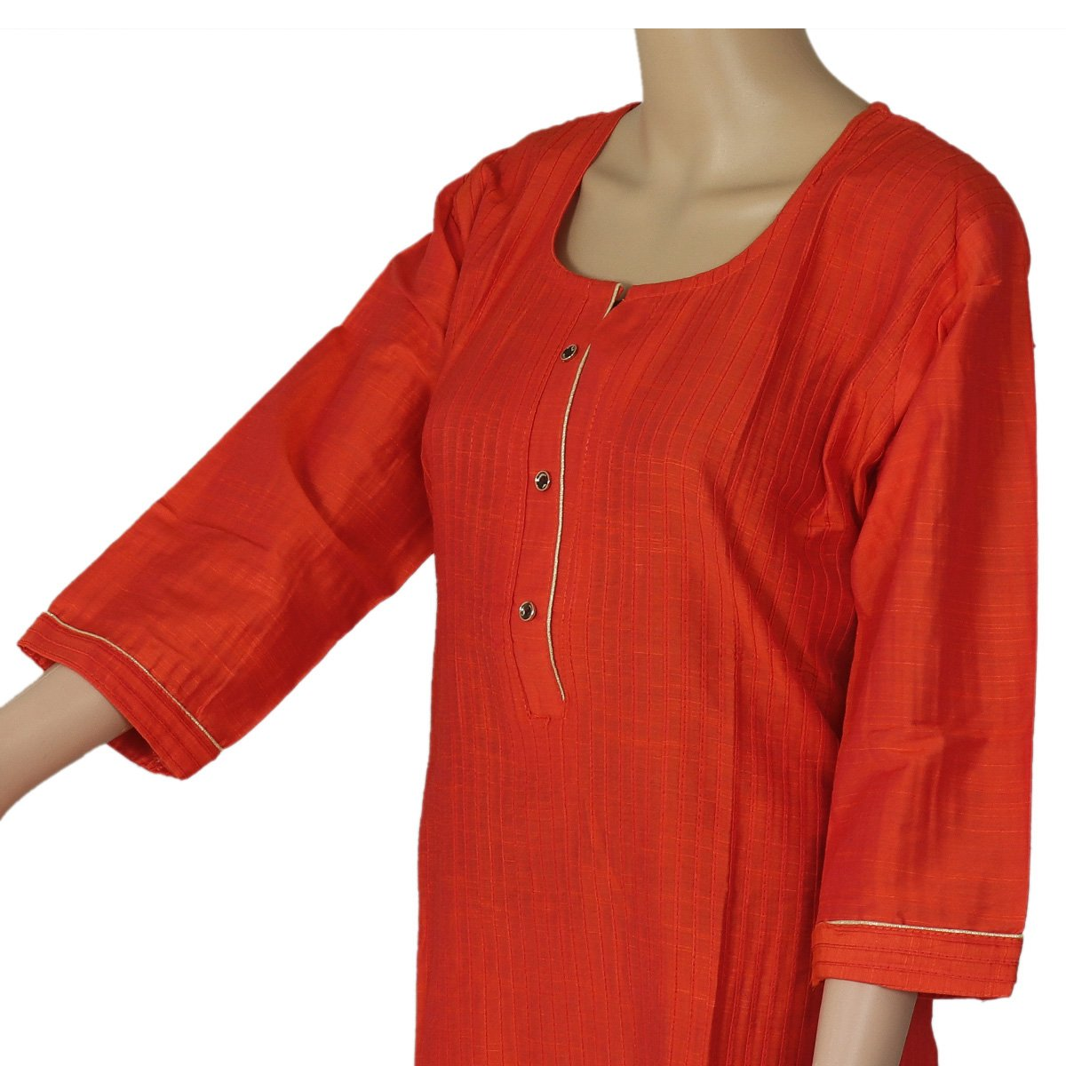 Raw Silk Kurta Orange with Buttons and Simple design
