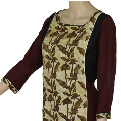 Cotton Kurta Light Brown and Brown with leaf design