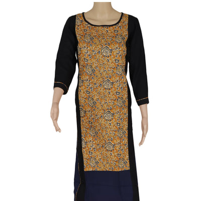 Cotton Kurta Mustard and Blue with Kalamkari Print