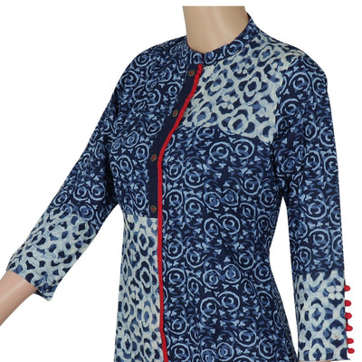 Cotton Kurta Blue and Maroon with design