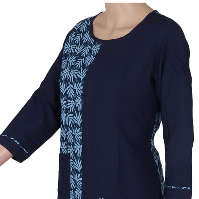 Cotton Kurta Sky Blue and Blue with leaf design