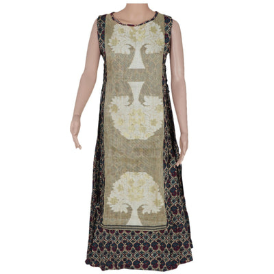 Cotton Kurta Beige and Purple with floral design
