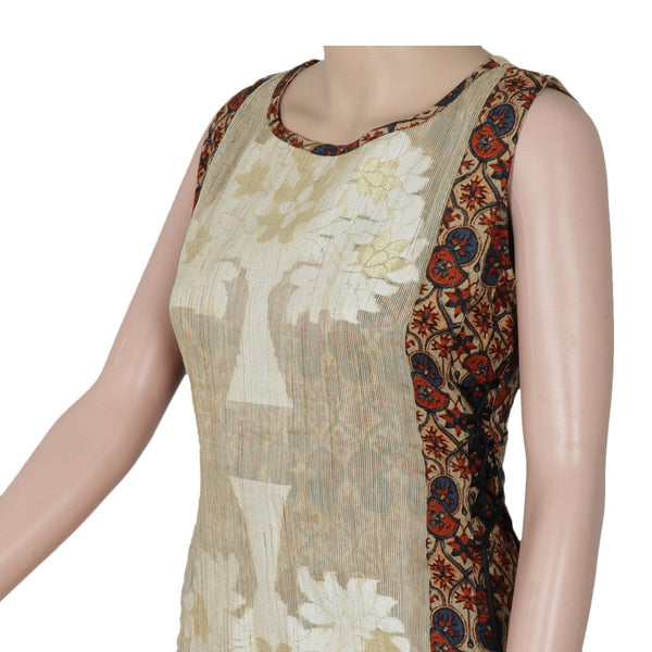Cotton Kurta Beige and Brown with floral design