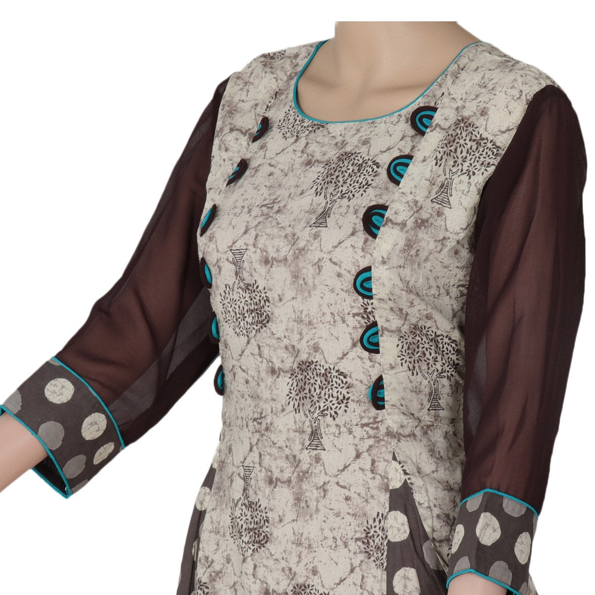 Cotton Kurta Grey and Blue with tree design