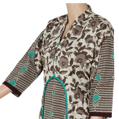 Cotton Kurta Grey and green with Floral design