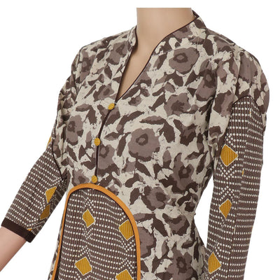 Cotton Kurta Grey and Mustard with Floral design
