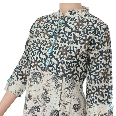 Cotton Kurta Off white and Blue with floral design