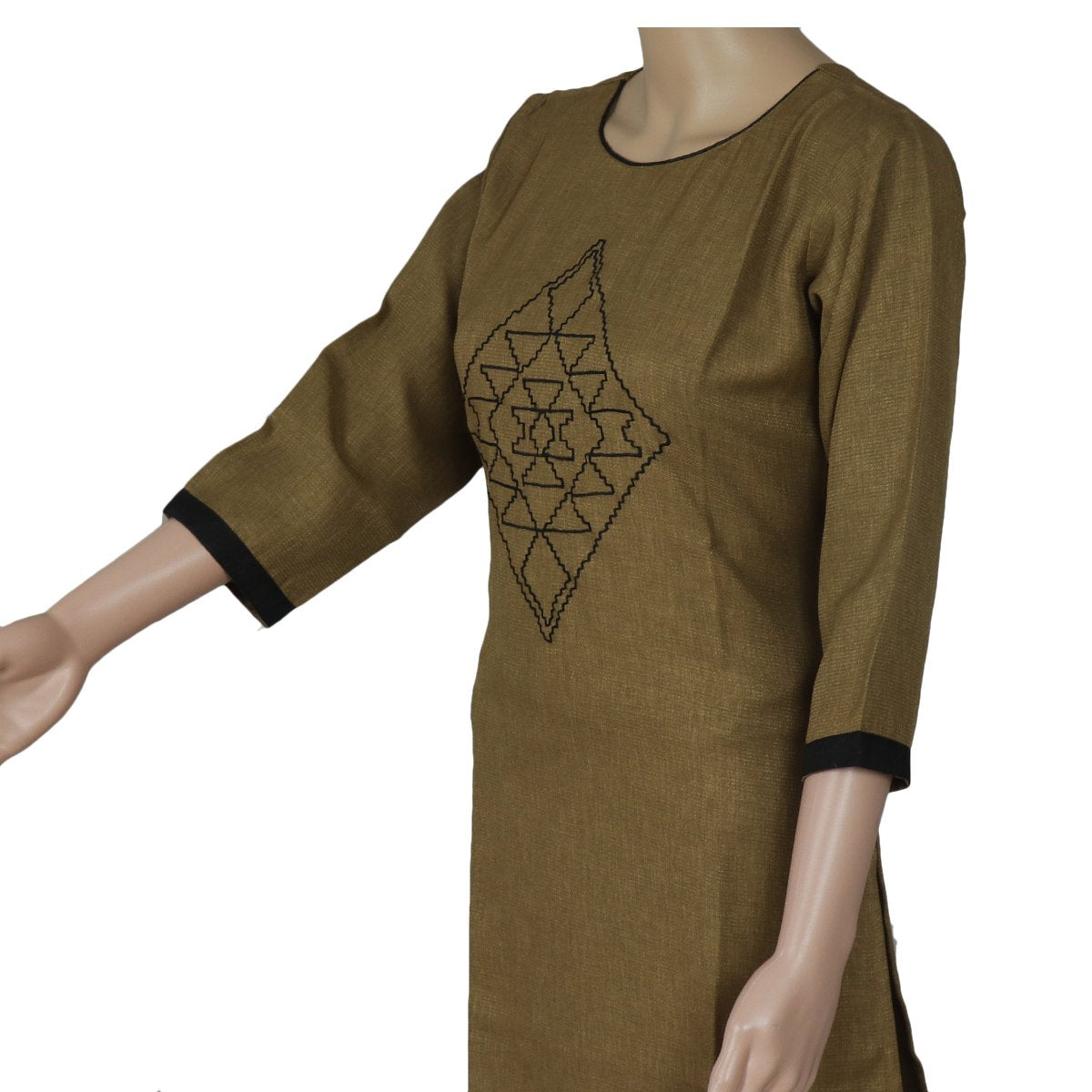 Cotton Kurta Brown and Black with Embroidery Work
