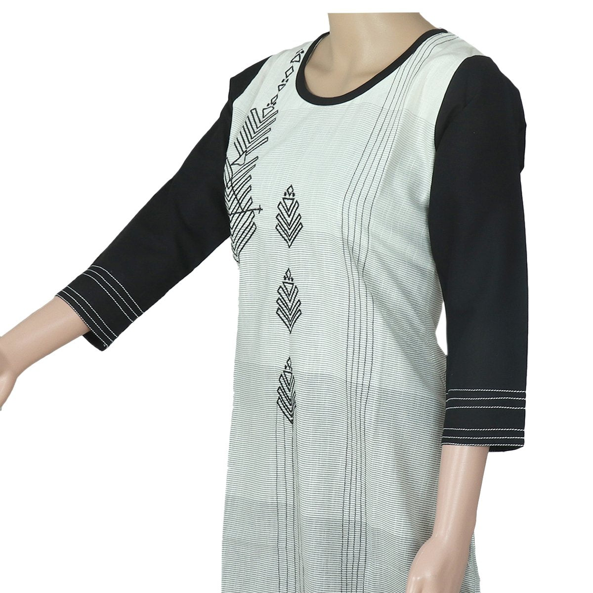 Cotton Kurta White and Black with Embroidery Work
