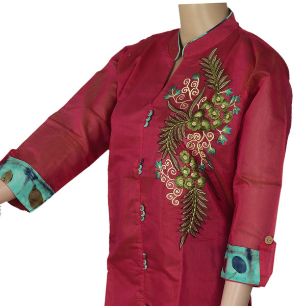 Chanderi Kurta Pink with Leaf embroidery design