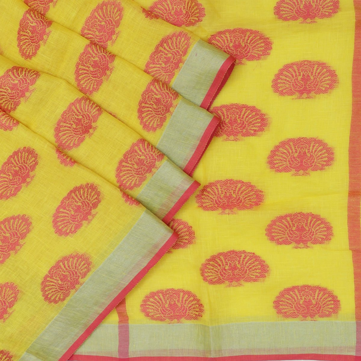 Linen Saree Yellow and Pink with Peacock thread butta and simple border Partly