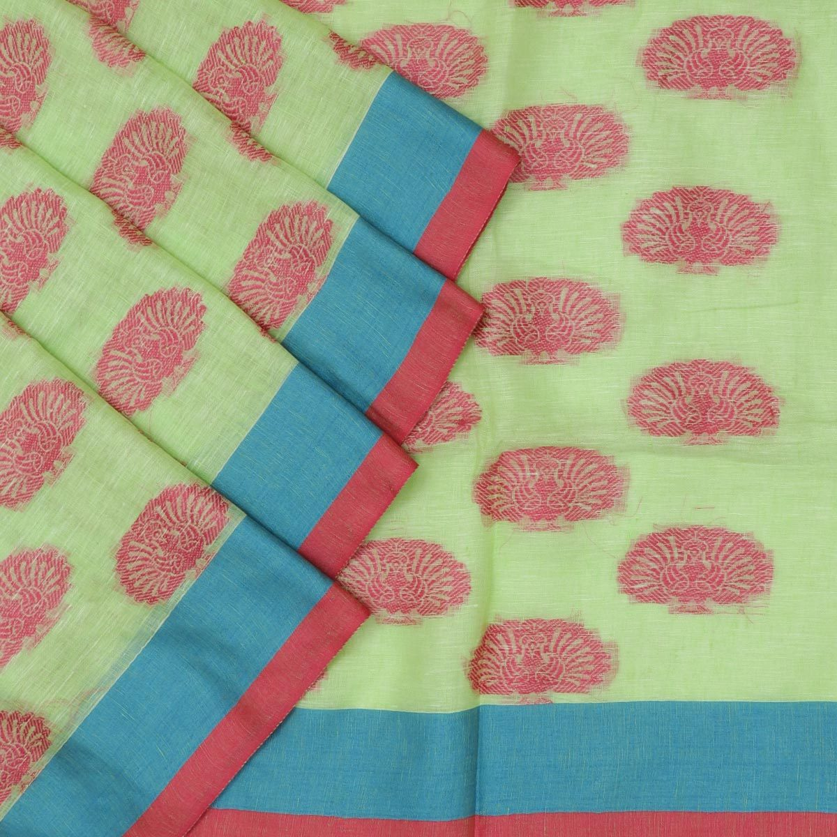 Linen Saree Light Green and Pink with Peacock thread butta and simple border Partly