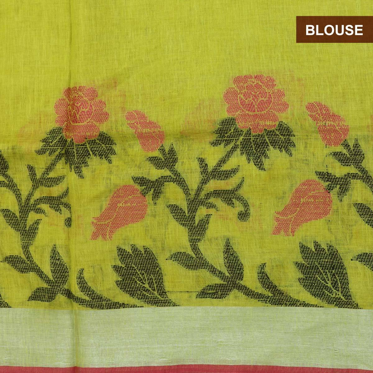 Buy Linen Saree Pista Green With Leaf Thread Design And Simple