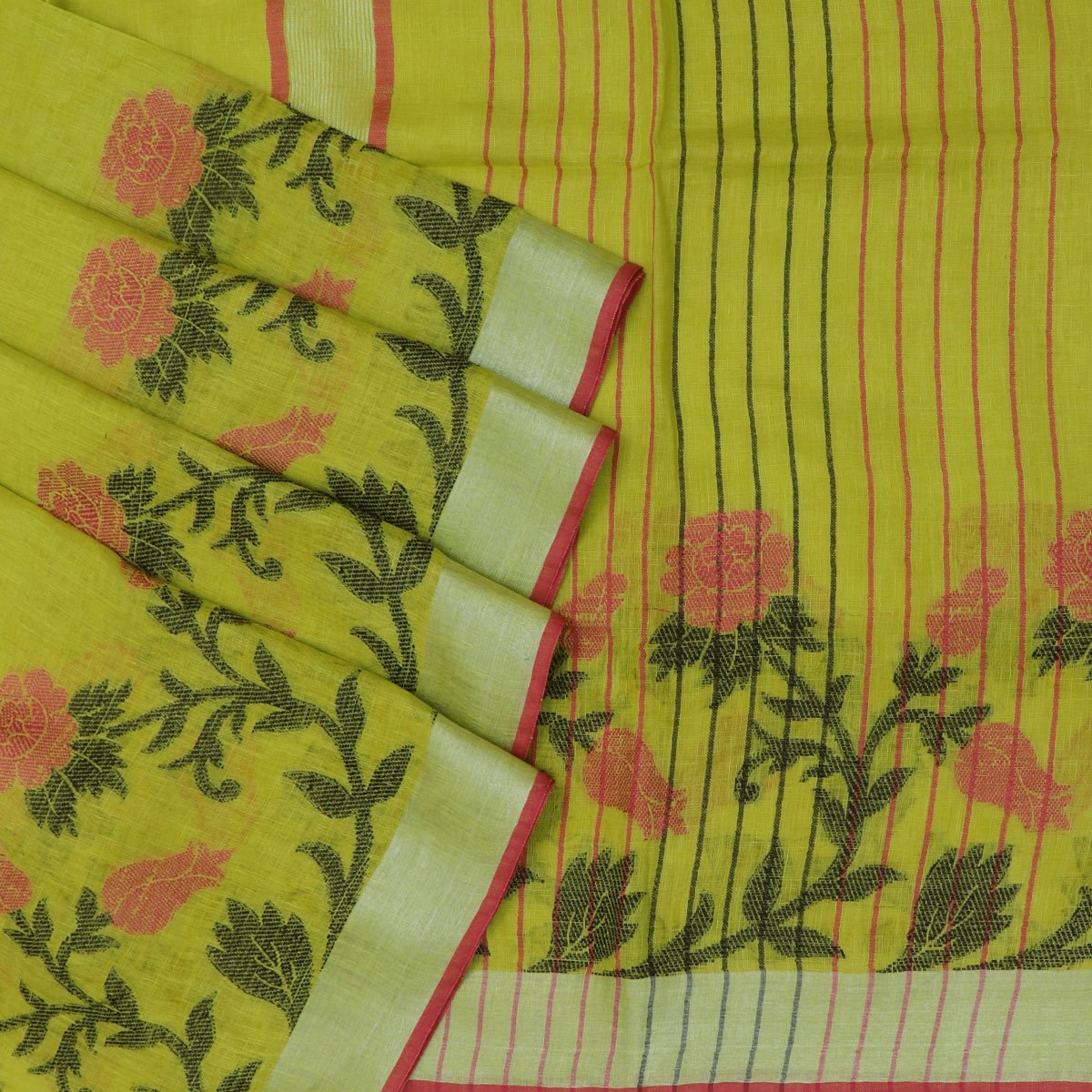 Linen Saree Pista Green with Leaf thread design and Simple border
