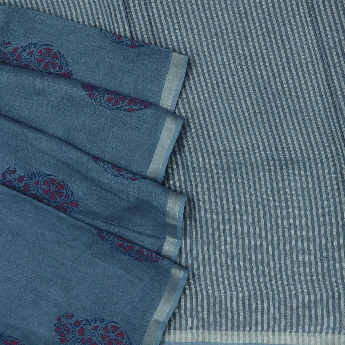 Handblock printed Linen Saree Bluish Grey and Pink with Flower design and simple border