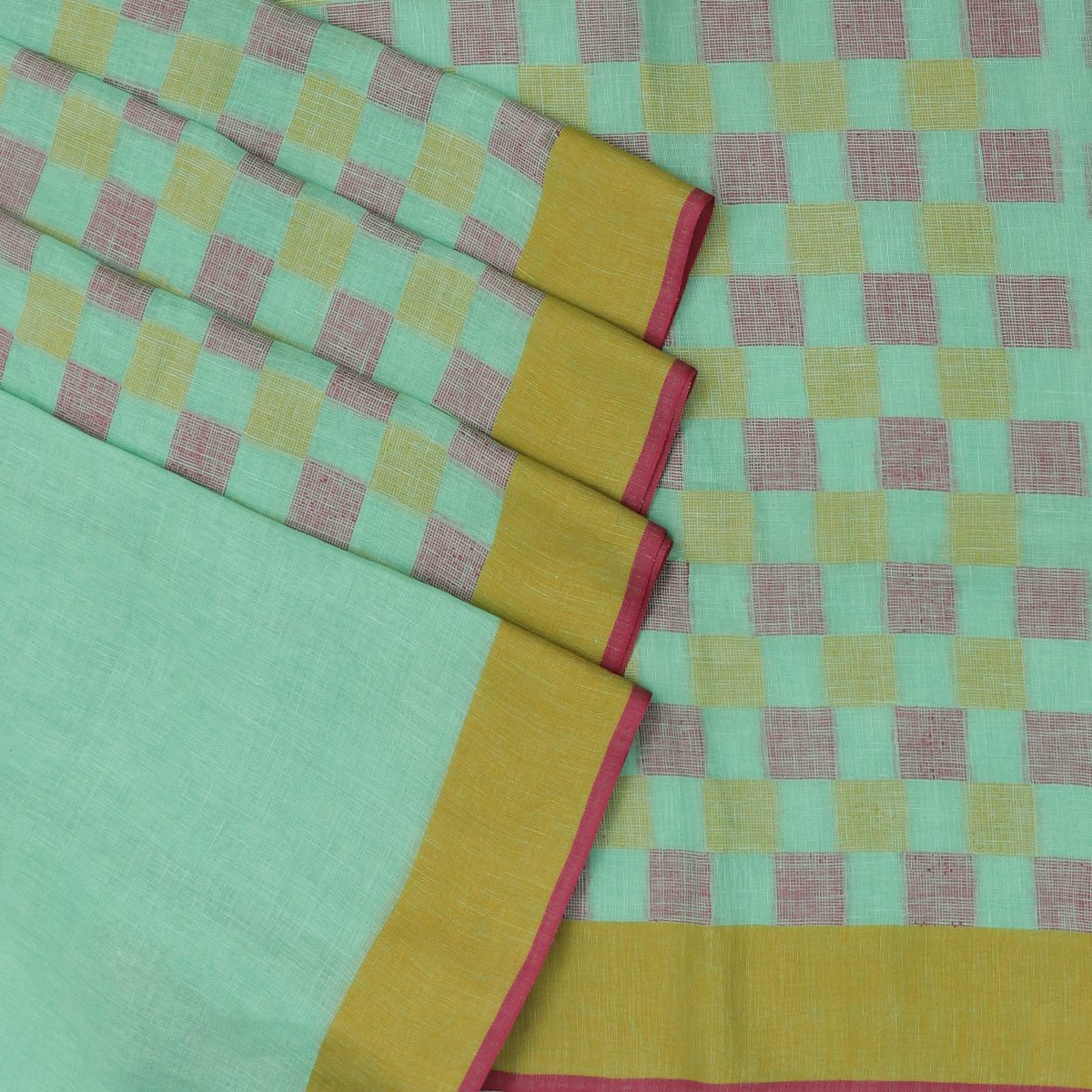 Linen Saree Mint Green and checked Mustered,pink with Simple border
