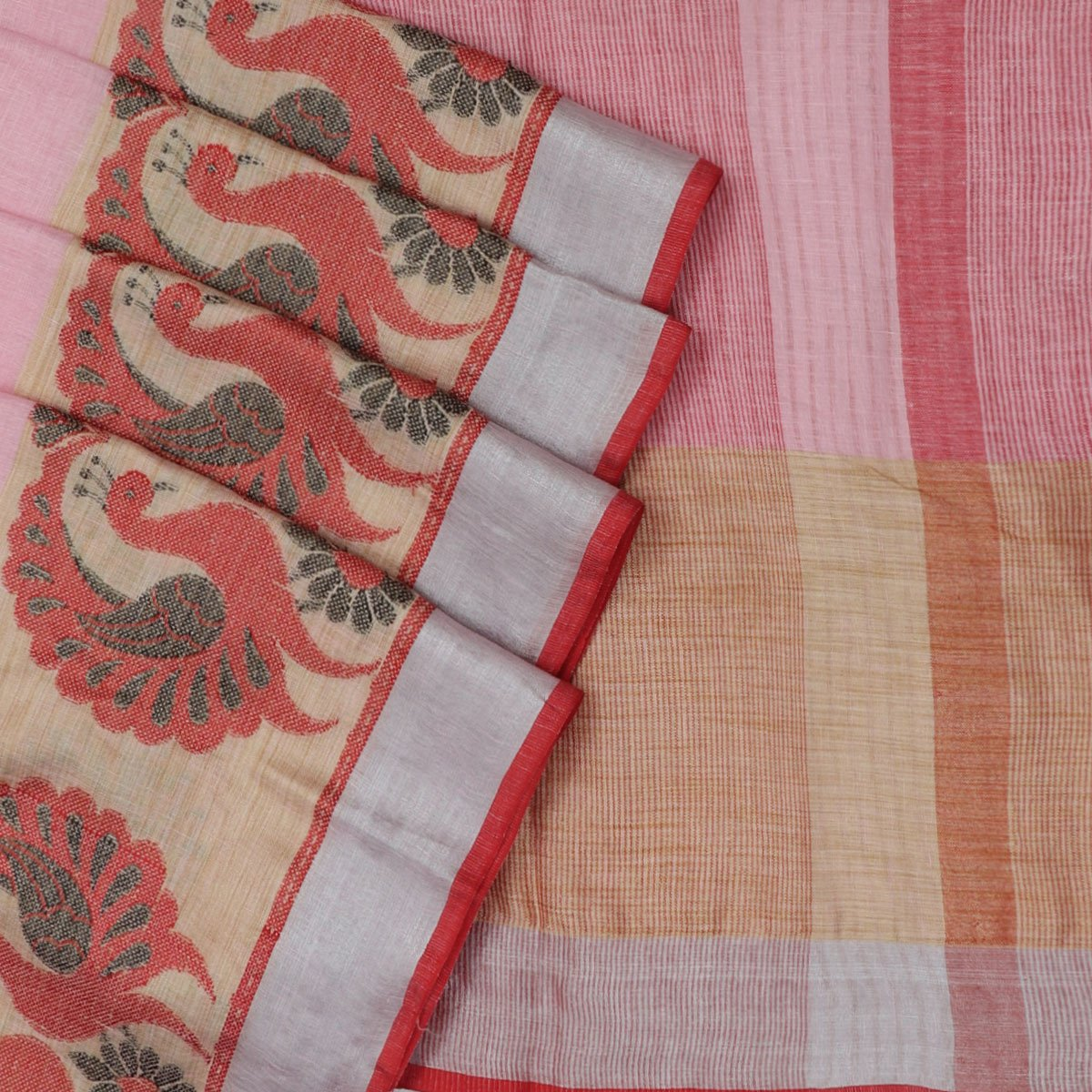 Linen Saree Pink and Printed annam with Simple border