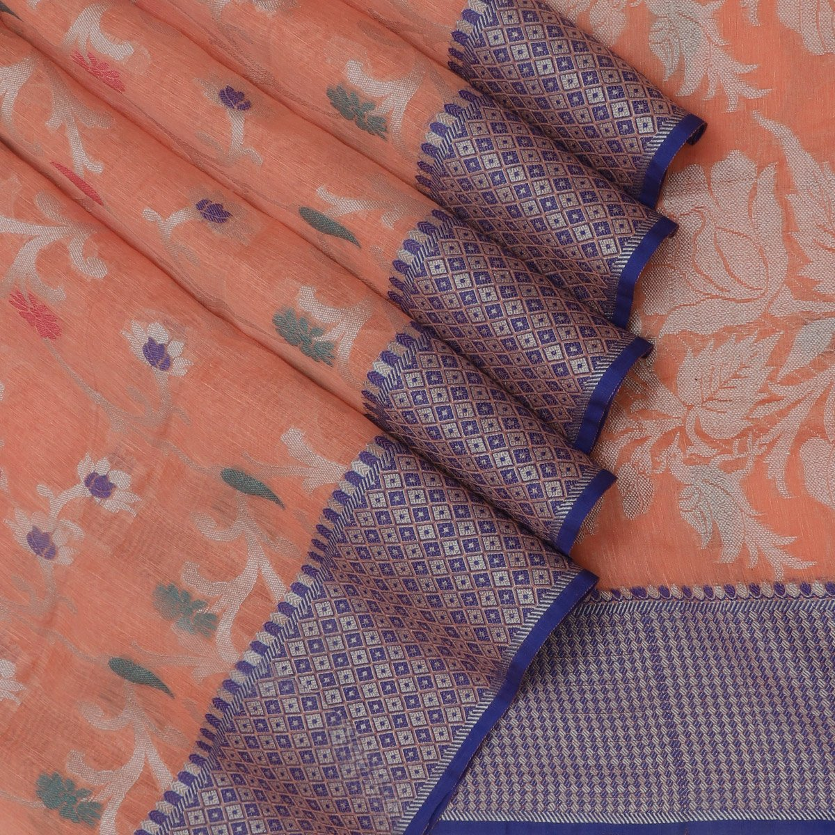 Jute Linen Saree Orange with Floral Thread zari and Blue Thread Border with Blue blouse