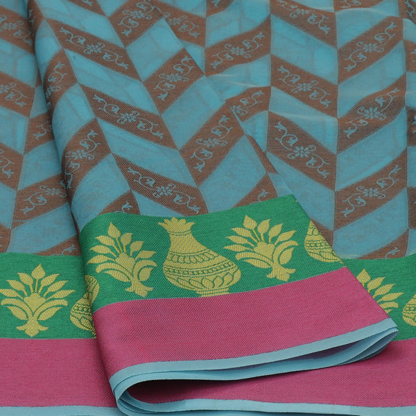 Banarasi Organza Saree Blue and Green with Pot thread border
