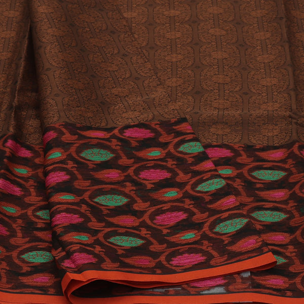 Banarasi Organza Saree Brown and Orange with Leaf emboss design
