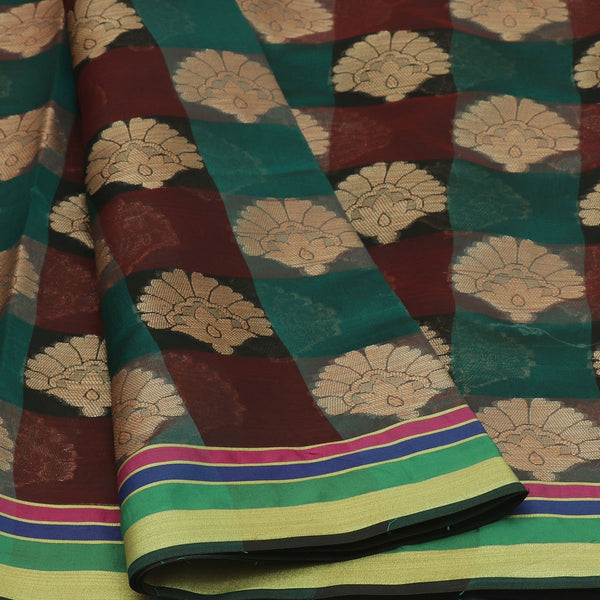 Banarasi Organza Saree Green and Black with Butta and Line border