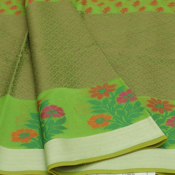 Banarasi Organza Saree Green with leaf butta and floral border