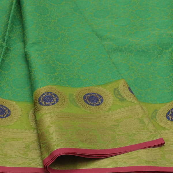 Banarasi Organza Saree Green and Light Green with Leaf zari border