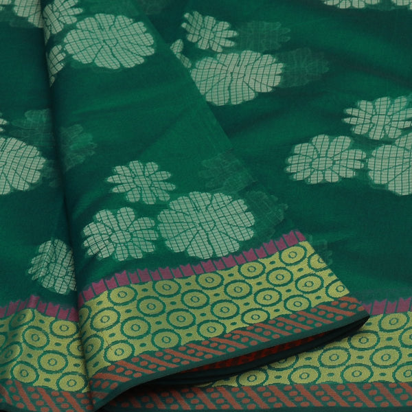 Banarasi Organza Saree Green with Simple border