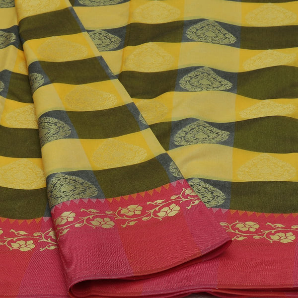 Banarasi Kora Muslin Saree Yellow with Moss Green Checked and Pink with Floral border