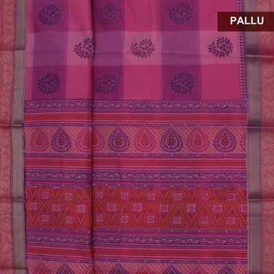 Chanderi Cotton Saree Pink and Violet Checked with Floral zari border