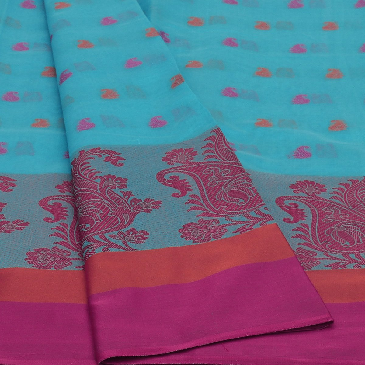 Chanderi Cotton Saree Sky Blue withThread Butta and Floral Thread border