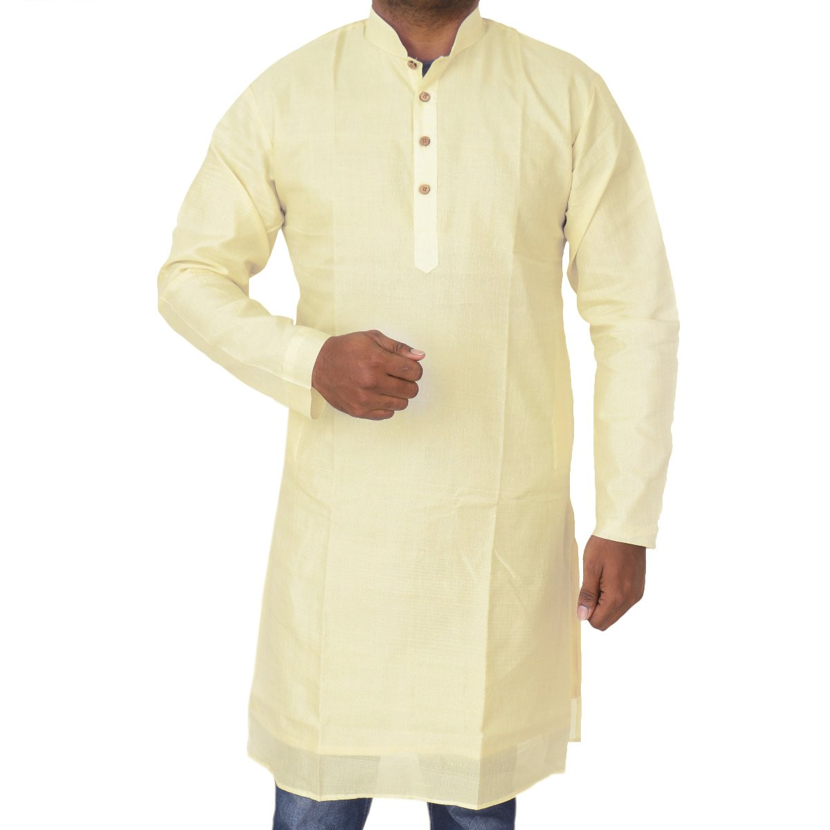 Mens Long Silk Cotton Kurta Sandal