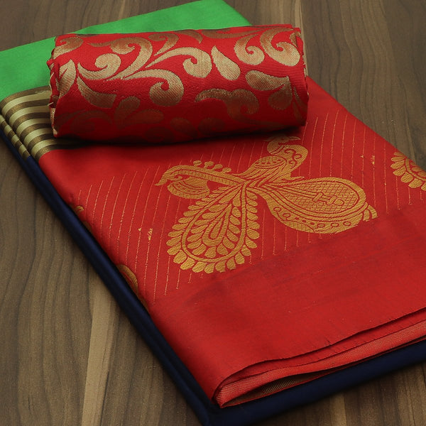 Art Silk Saree Dark Blue with Green and Red with Peacock Zari Border and Brocade Blouse