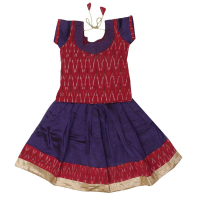 Ikkat Paavadai Sattai - Maroon and Violet with Simple border (2 years )