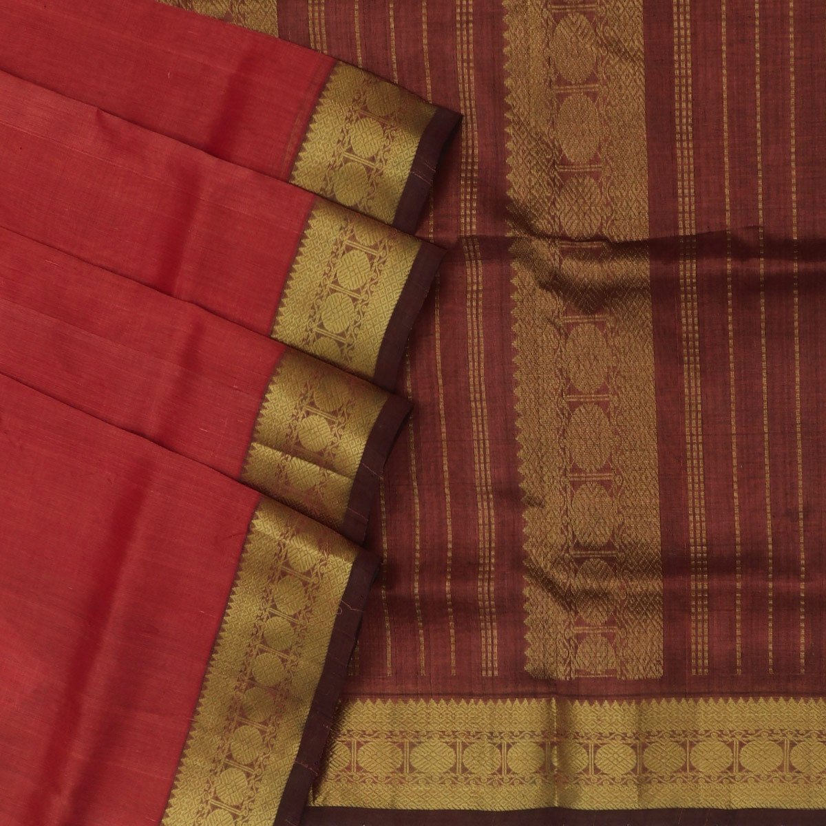 Silk Cotton Saree : Light Red with Coin Zari Border