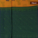 Kora silk  saree Yellow and Blue with Horse prints