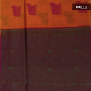 Kora silk  saree Orange and Pink with Horse prints