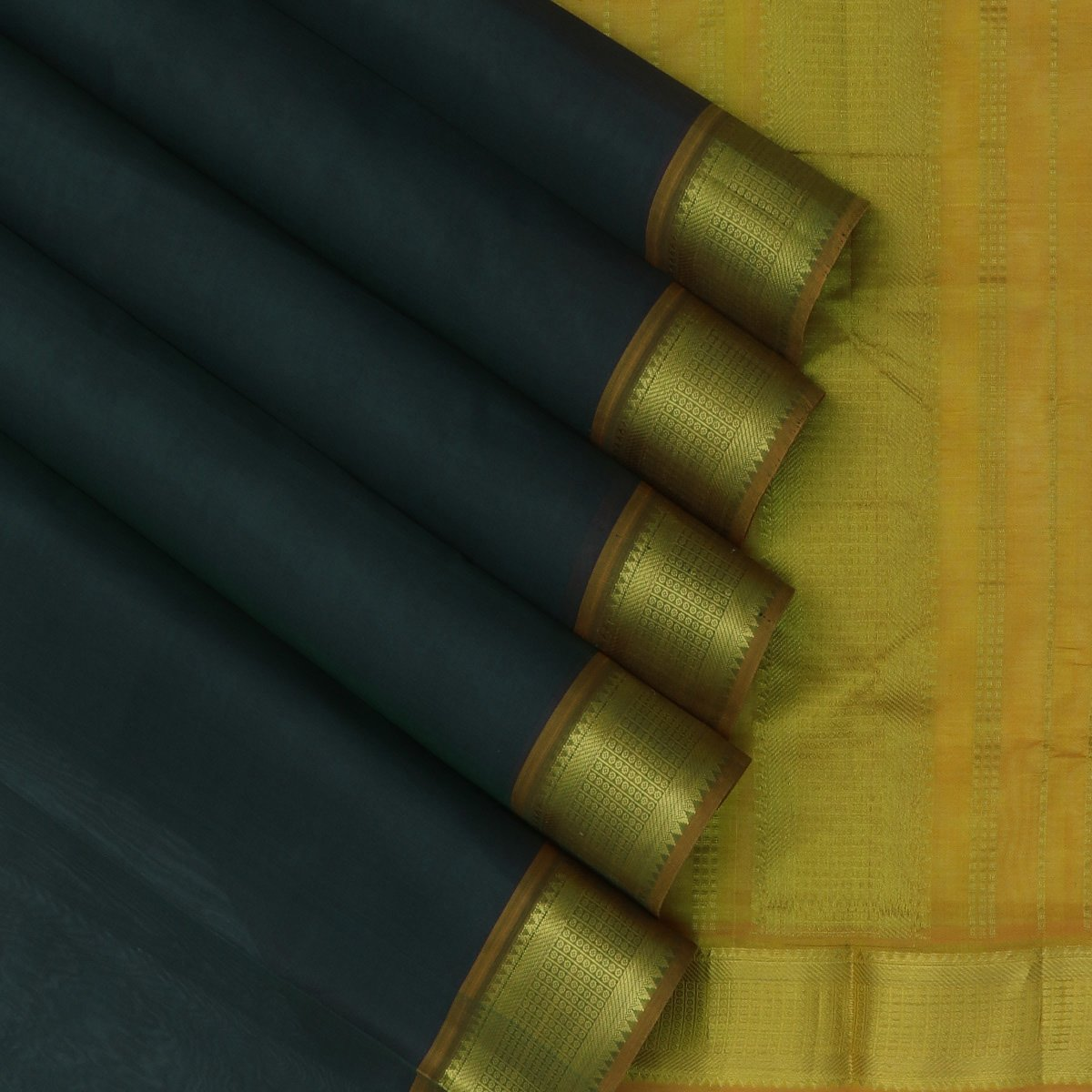 Silk Cotton Saree-Blue withv Dark Green dual Shade and Honey Color with Simple zari border