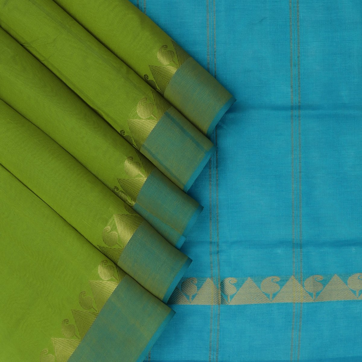 Silk Cotton Saree-Mehandi Green and Sky Blue with Temple zari border
