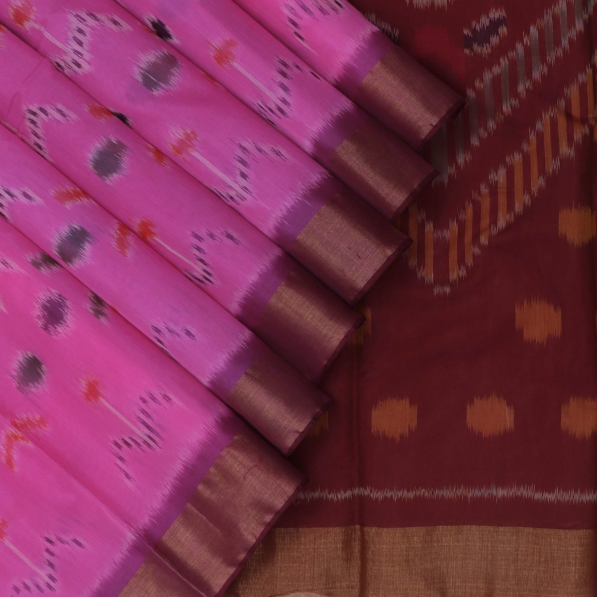 Kora silk Cotton saree Pink and Maroon with Ikkat prints and Zari Border