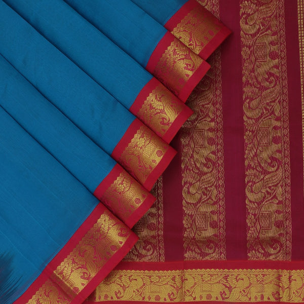 Silk Cotton Saree-Yale Blue and Pink with Peacock Zari border Korvai