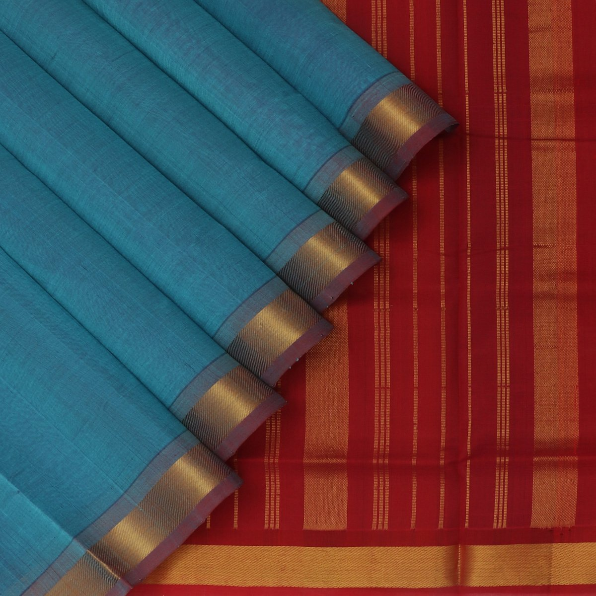 Silk Cotton Saree-Teal blue and Maroon with simple zari border
