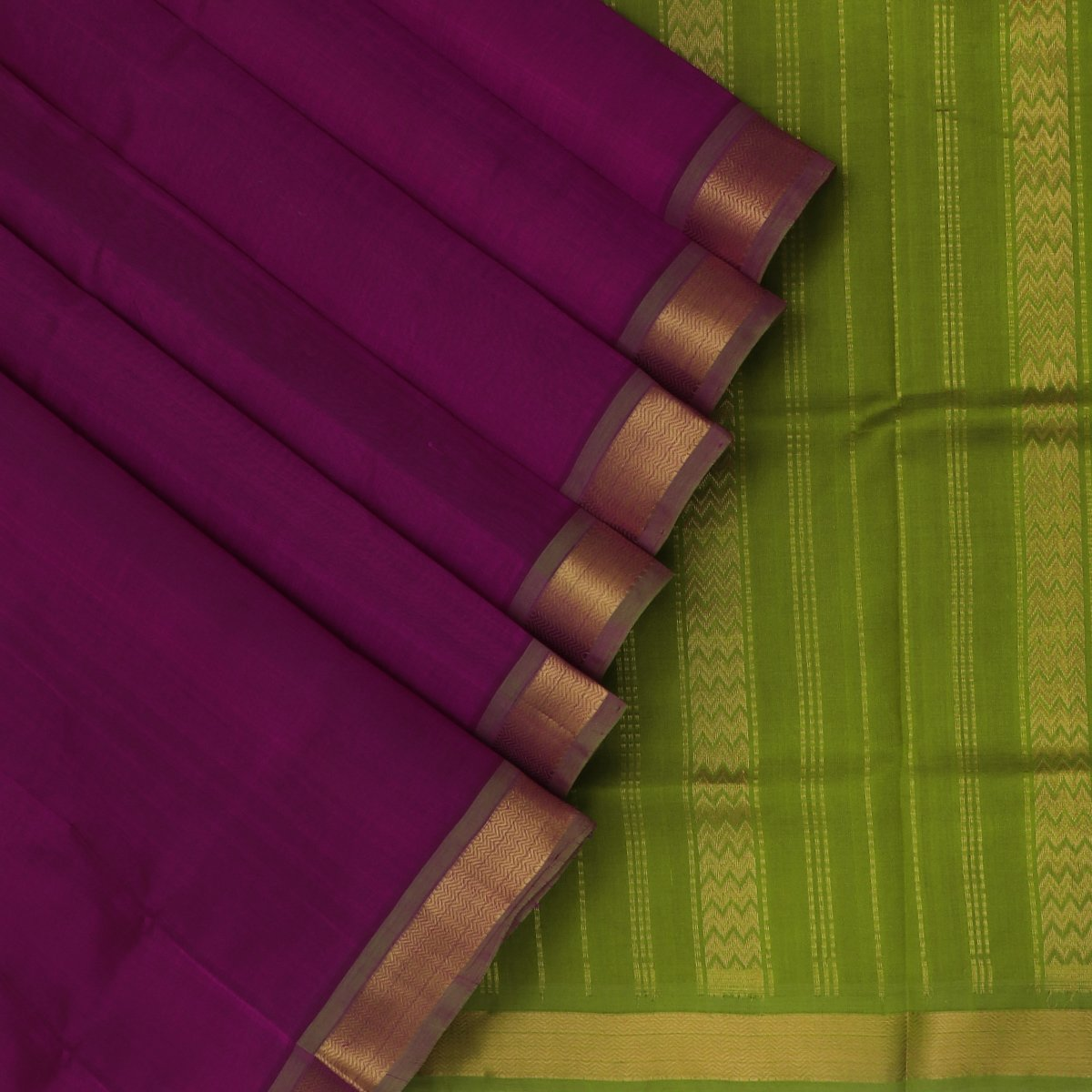 Silk Cotton Saree-Violet and Mehandi Green with Simple zari border