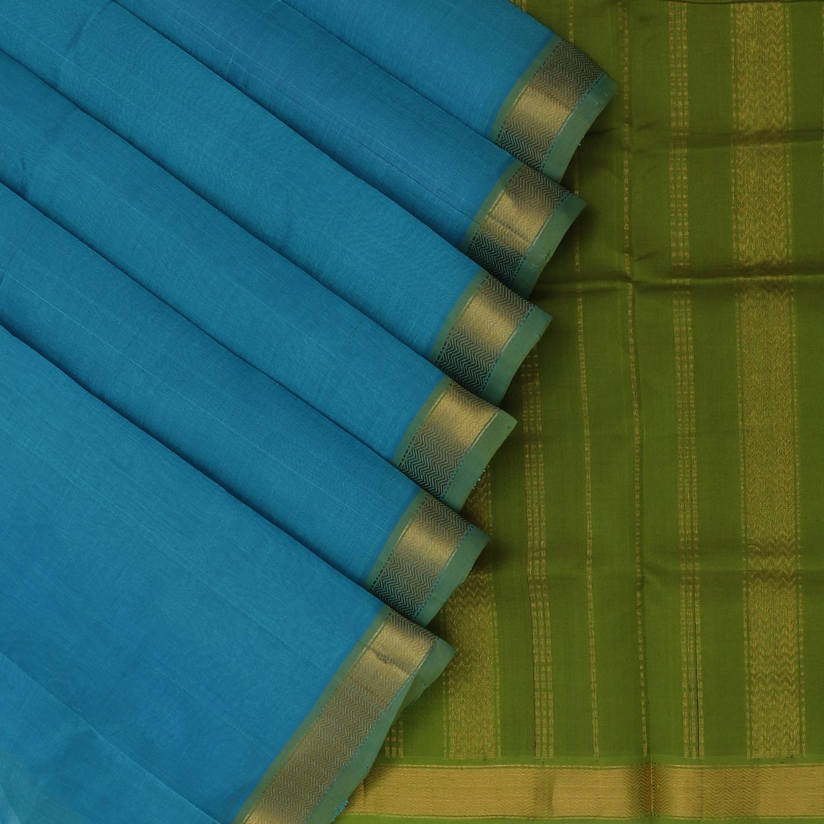Silk Cotton Saree-Sky Blue and Mehandi Green with Simple zari border