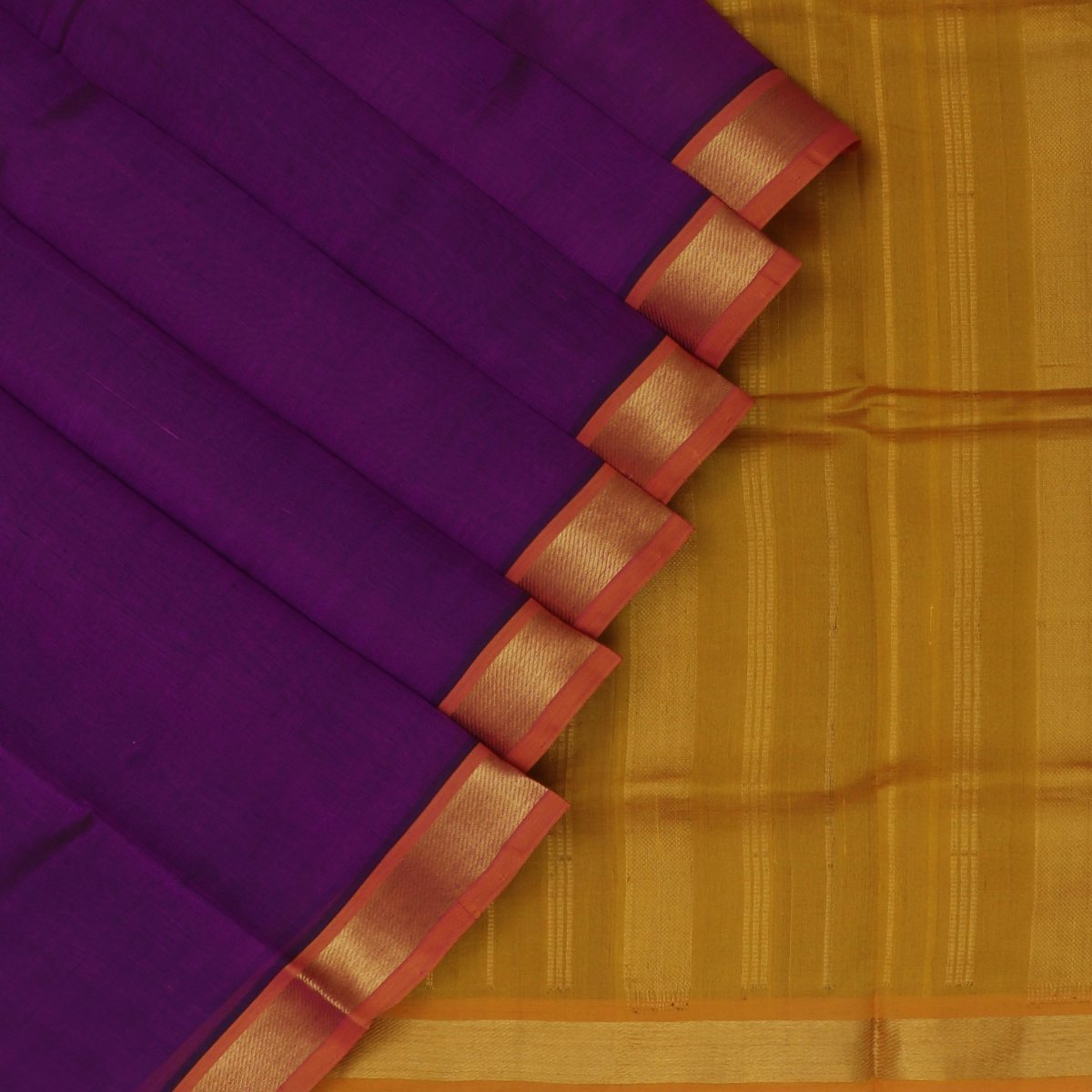 Silk Cotton Saree-Violet and Mustard with Simple zari border