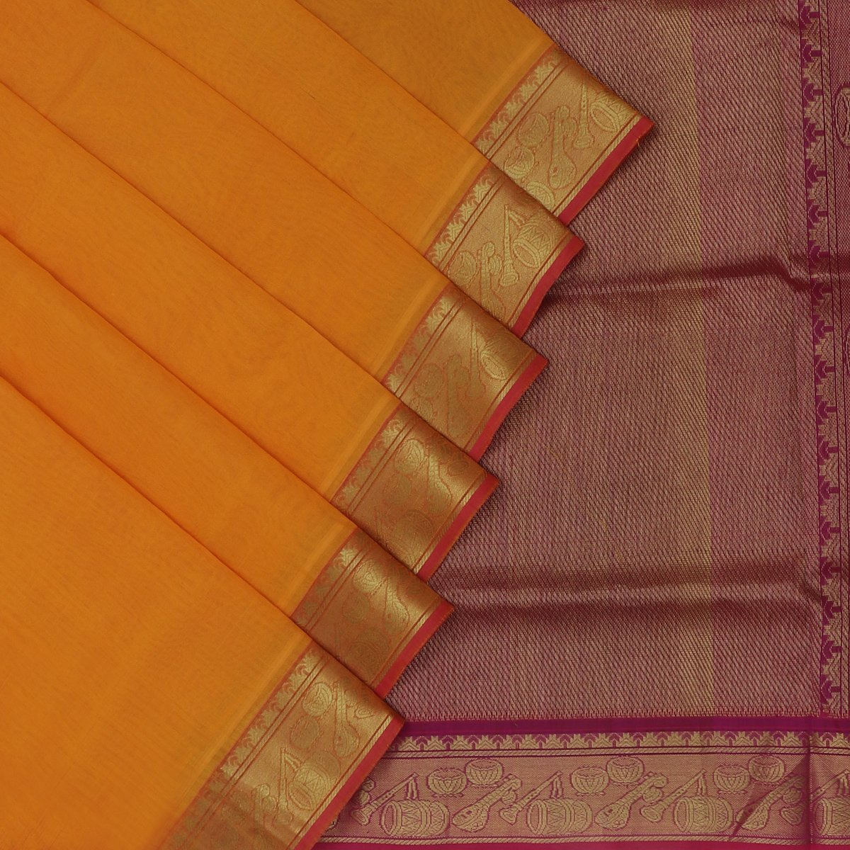 Silk Cotton Saree-Yellow and Violet with Instrumental zari border