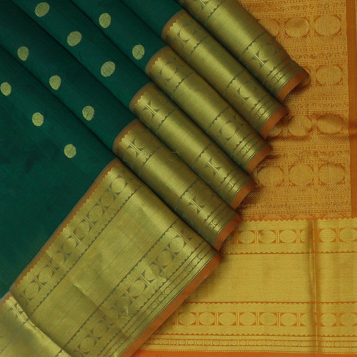 Silk Cotton Saree Dark Green with Buttas and Honey color with Long Rudraksha Border