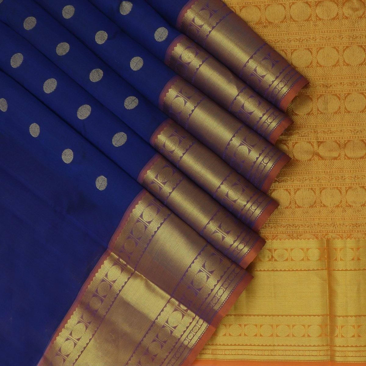 Silk Cotton Saree Blue with Buttas and Honey color with Long Rudraksha Border