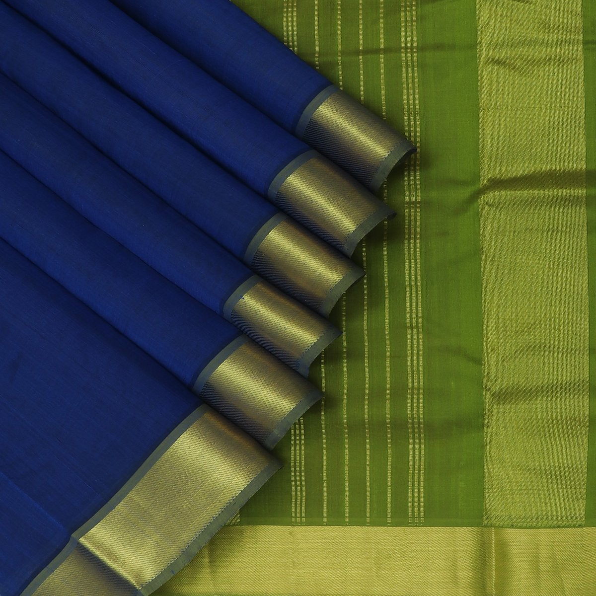 Silk Cotton Saree Blue and Mehandi Green with Zari border